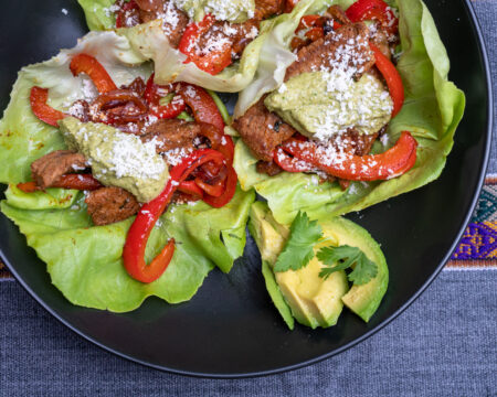 Lettuce wraps are an easy, low-carb alternative that have all the benefits of tacos. Here, a quick fajita seasoning makes for a simple but dazzling meal, and of course, the Saucí Verde takes it over the top!